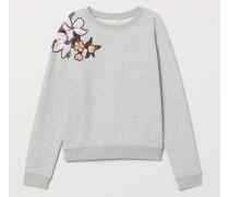 Sweatshirt mit Druck - Graumeliert/Perlenstickerei
