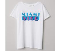 T-Shirt mit Druck - WeiB/Miami Vice