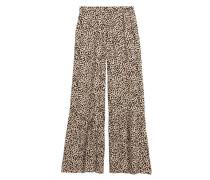 Weite Hose - Beige/Leopardenmuster