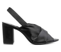 Sandaletten aus Satin - Schwarz