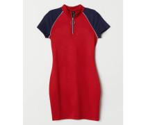 Jerseykleid mit ReiBverschluss - Rot/Dunkelblau