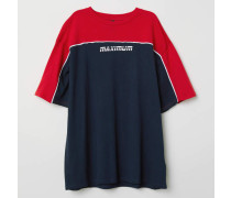 Oversize-T-Shirt - Dunkelblau/Rot