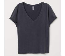 T-Shirt mit V-Ausschnitt - Dunkelgrau