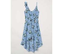 Wickelkleid aus Kreppstoff - Taubenblau/Geblümt