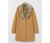 Mantel mit Faux-fur-Kragen - Camel