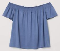 Off-Shoulder-Shirt - Taubenblau