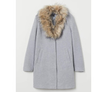 Mantel mit Faux-fur-Kragen - Hellgrau