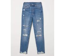Slim Mom Jeans Trashed - Light denim blue