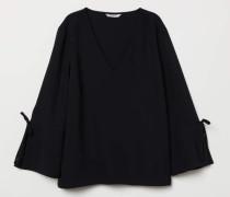 Bluse mit V-Ausschnitt - Schwarz