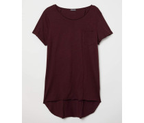 Langes T-Shirt - Weinrot
