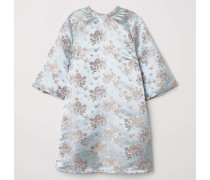 Kleid aus Jacquardstoff - Helles Graublau/Geblümt