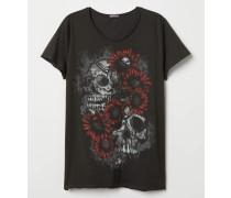 T-Shirt mit Druck - Schwarz/Totenköpfe
