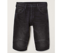 Jeansshorts Straight Fit - Schwarz Washed out