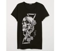 T-Shirt mit Druck - Schwarz/Totenkopf