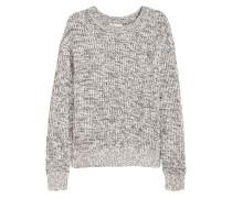 Gerippter Pullover - WeiBmeliert