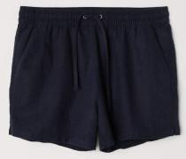 Shorts aus Leinenmischung - Dunkelblau