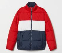 Wattierte Jacke - Rot/Blockfarben