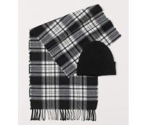 Mütze und Schal - Schwarz/Kariert