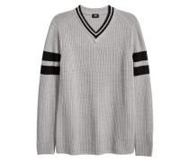 Pullover mit V-Ausschnitt - Hellgrau/Schwarz