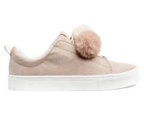 Sneaker - Hellbeige/Pompons