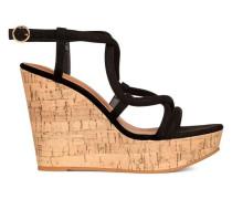 Sandaletten mit Keilabsatz - Schwarz