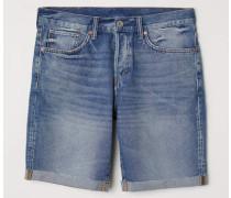 Jeansshorts Straight Fit - Blau/Gewaschen