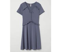 Kleid mit V-Ausschnitt - Dunkles Graublau