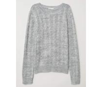 Pullover mit Zopfmuster - Graumeliert