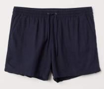 Shorts aus Leinenmix - Dunkelblau