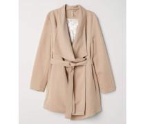 Mantel mit drapiertem Revers - Beige