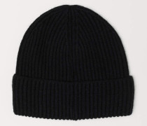 Mütze in Rippenstrick - Schwarz