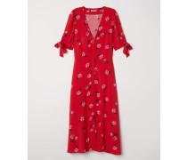 Knielanges Kleid - Rot/Geblümt