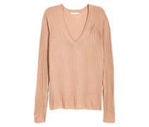 Pullover in Rippenstrick - Beige
