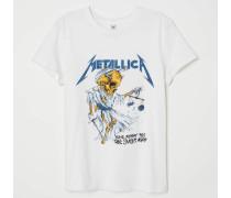 T-Shirt mit Druck - WeiB/Metallica