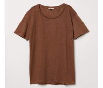 T-Shirt aus Leinen - Braun