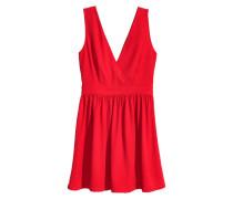 Kleid mit V-Ausschnitt - Rot