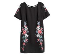 Kurzes Kleid - Schwarz/Blumen