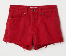 Jeansshorts - Rot
