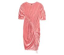 Kleid aus Crashsamt - Korallenrosa