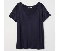 T-Shirt mit V-Ausschnitt - Dunkelblau