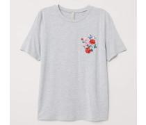 T-Shirt mit Stickerei - Graumeliert/Blumen