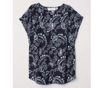 Bluse mit V-Ausschnitt - Dunkelblau/Paisleymuster