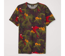 T-Shirt aus Baumwolle - Weinrot/Gemustert