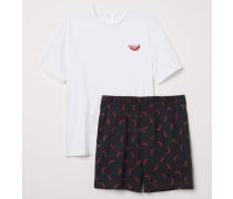 Schlafshirt und Shorts - WeiB/Chilischote