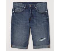 Jeansshorts Straight Long - Blau/Trashed