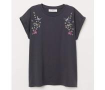 Shirt mit Stickerei - Dunkelgrau/Vögel