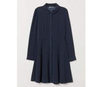 Blusenkleid - Dunkelblau/WeiB gepunktet