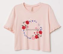 Kurzes T-Shirt mit Druck - Altrosa/Romantique