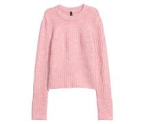 Gerippter Pullover - Hellrosameliert