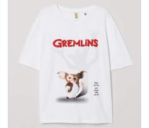 T-Shirt mit Druck - WeiB/Gremlins